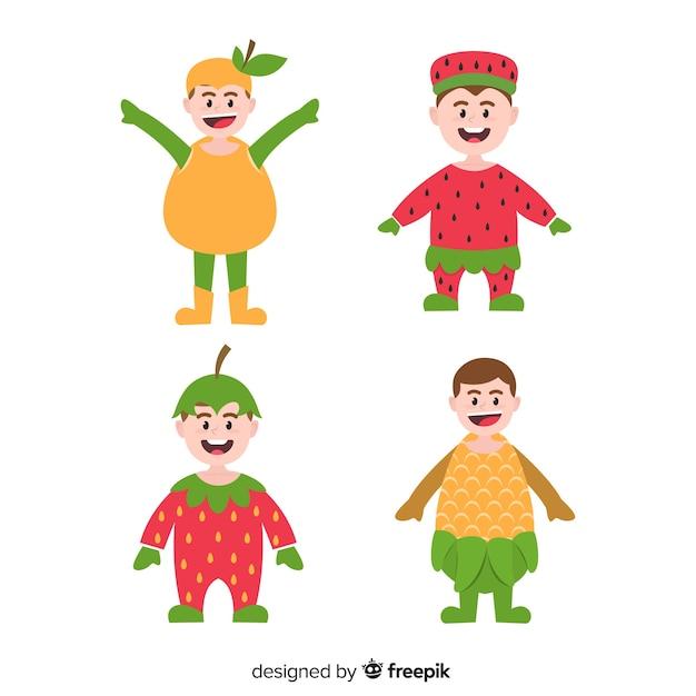 Set personajes disfrazados vector gratuito