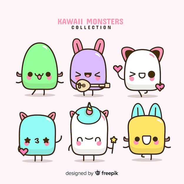 Set de personajes en estilo kawaii vector gratuito