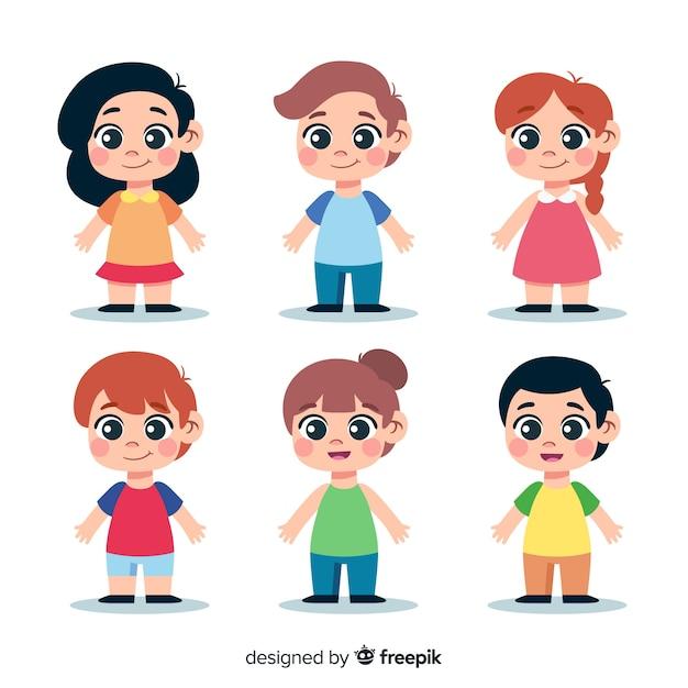 Set de personajes de estilo kawaii vector gratuito