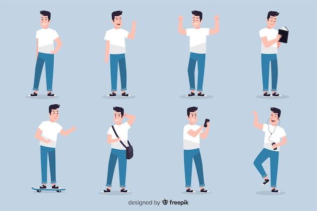 Set de personajes mostrando emociones vector gratuito