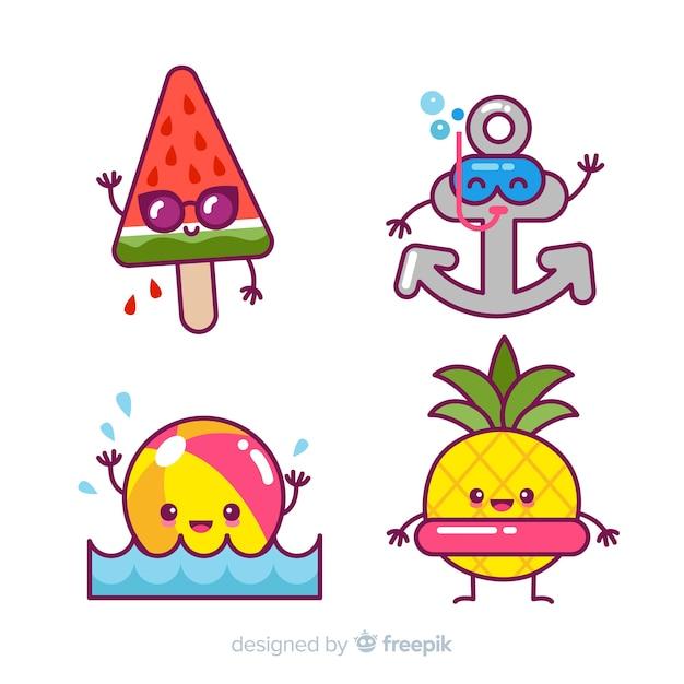 Set de personajes veraniegos de estilo kawaii vector gratuito