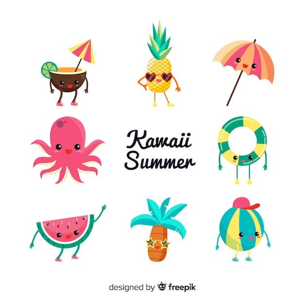 Set de personajes veraniegos en estilo kawaii vector gratuito