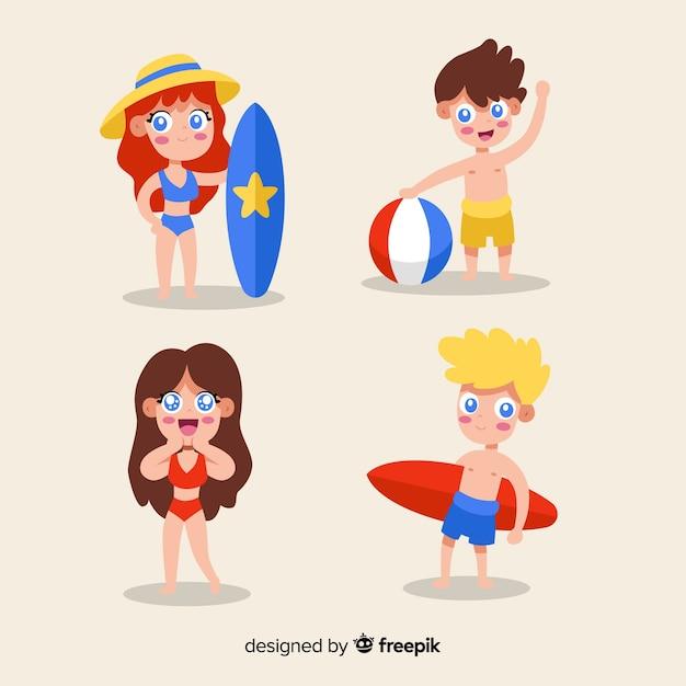 Set personajes de verano kawaii vector gratuito