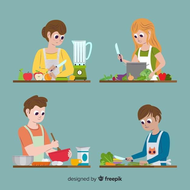 Set de personas en la cocina vector gratuito