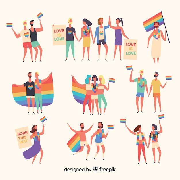 Set de personas dibujadas en el día del orgullo vector gratuito