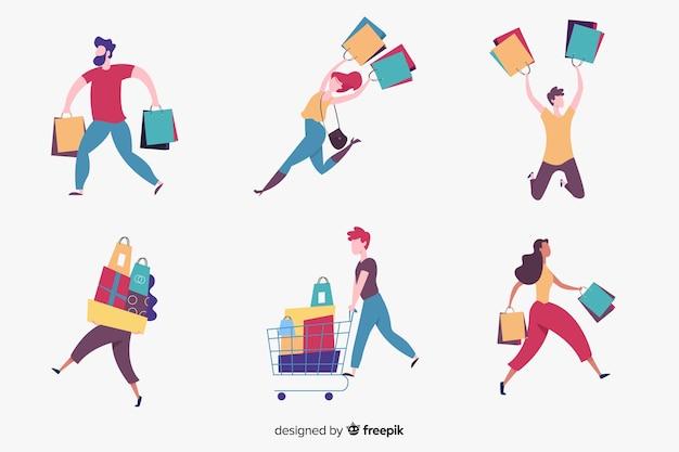 Set de personas llevando bolsas de la compra vector gratuito