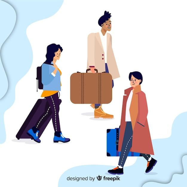 Set de personas viajando vector gratuito
