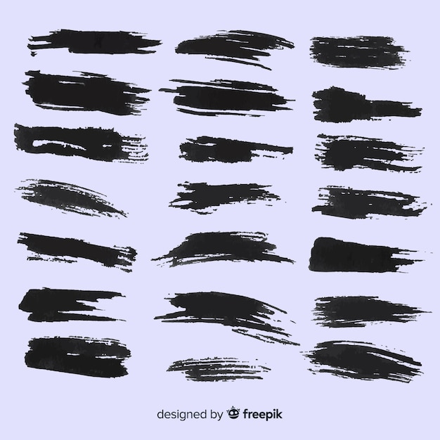 Set de pinceladas estilo grunge vector gratuito