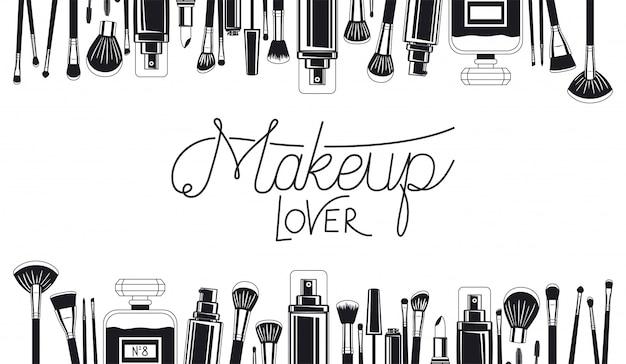 Set de pinceles de maquillaje y cuadro de productos. vector gratuito