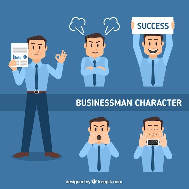 Set plano de personaje de hombre de negocios en diferentes posturas Vector Gratis