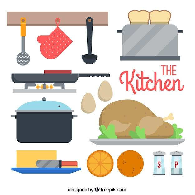 Set plano de utensilios de cocina descargar vectores gratis for Utensilios de chef