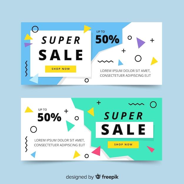 Set de plantilla de banner con oferta, estilo memphis vector gratuito