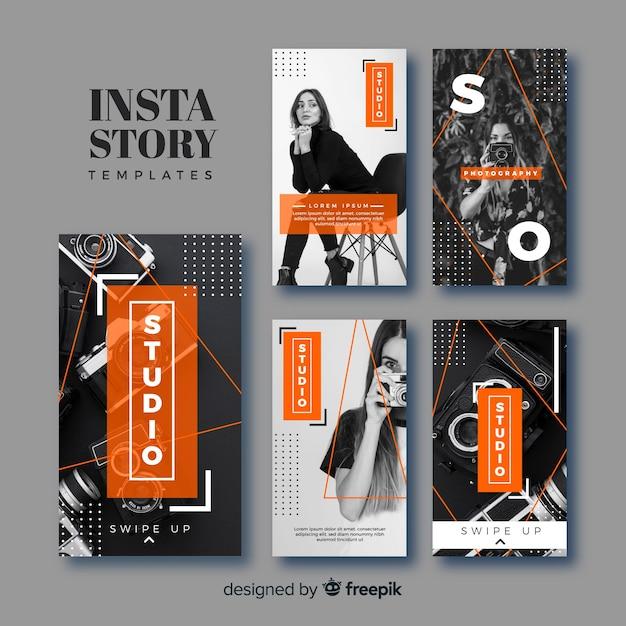 Set de plantillas de historias de instagram de fotografía vector gratuito