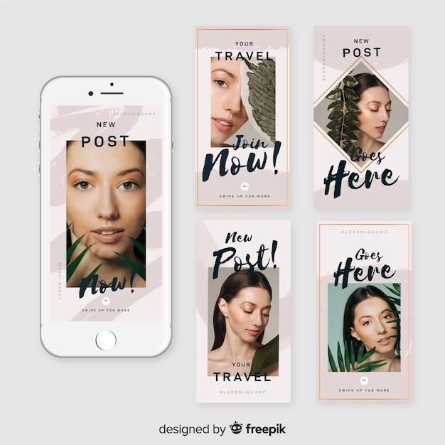 Set de plantillas de instagram stories de rebajas vector gratuito