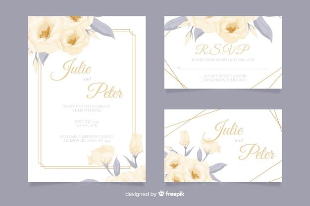Set de plantillas de papeles y sobres para bodas vector gratuito