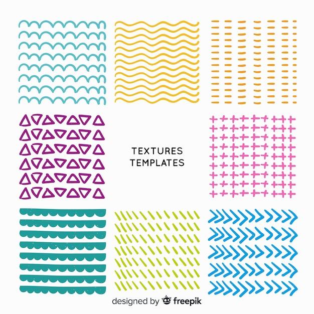 Set de plantillas de texturas dibujadas vector gratuito