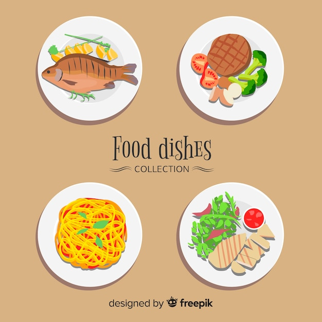 Set de platos de comida vector gratuito