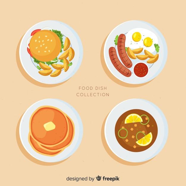 Set platos de comida vector gratuito