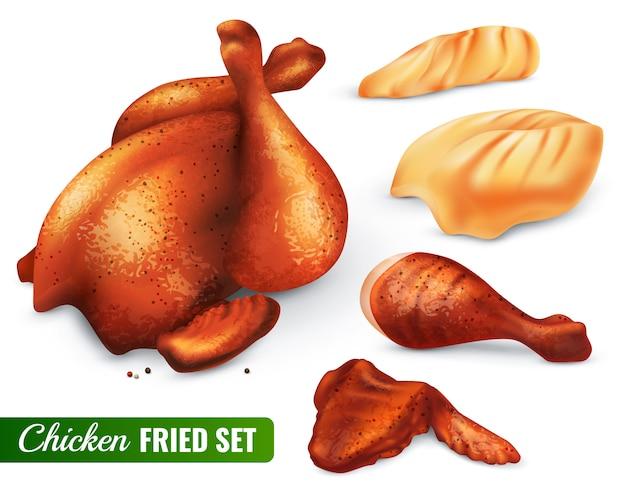 Set de pollo frito vector gratuito