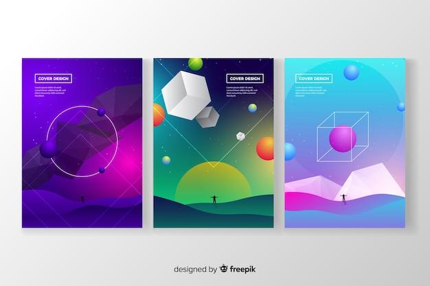 Set de portadas de antigravedad vector gratuito