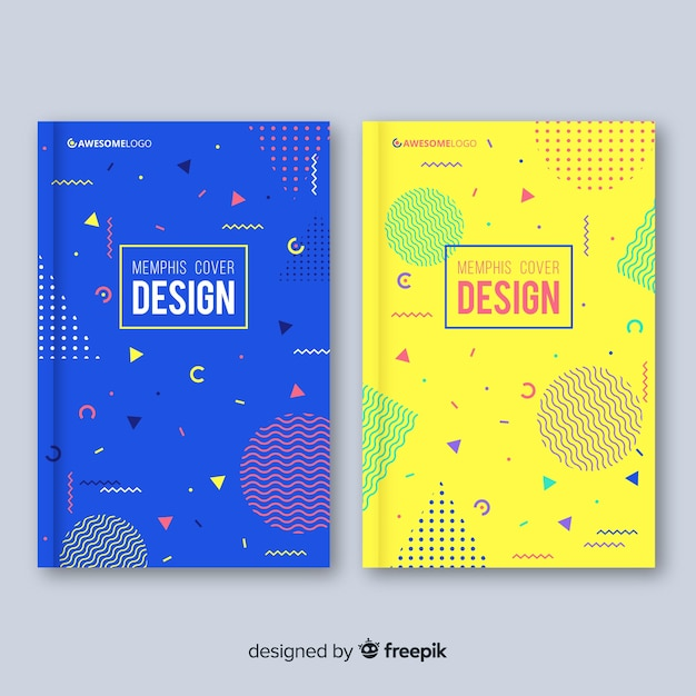 Set de portadas de estilo memphis vector gratuito