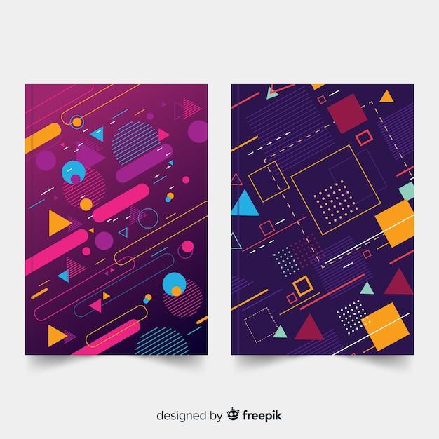 Set de portadas geométricas vector gratuito