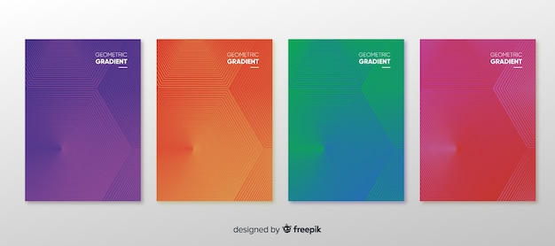 Set de poster geométrico degradado vector gratuito