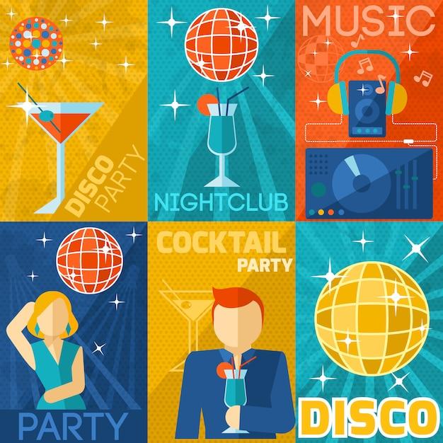 Set de pósteres del club nocturno vector gratuito