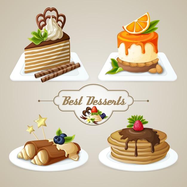 Set de postres dulces Vector Premium