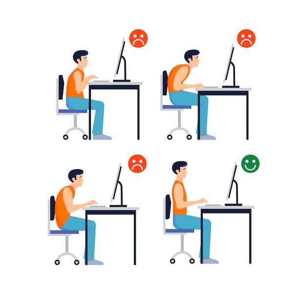 Set de posturas correctas e incorrectas frente al ordenador vector gratuito