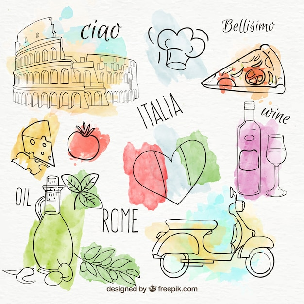 Set de productos italianos pintados a mano Vector Premium
