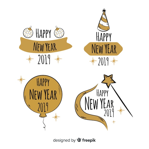 Set retro de etiquetas de año nuevo 2019 vector gratuito