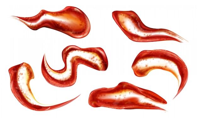 Set de salpicaduras de salsa de tomate vector gratuito