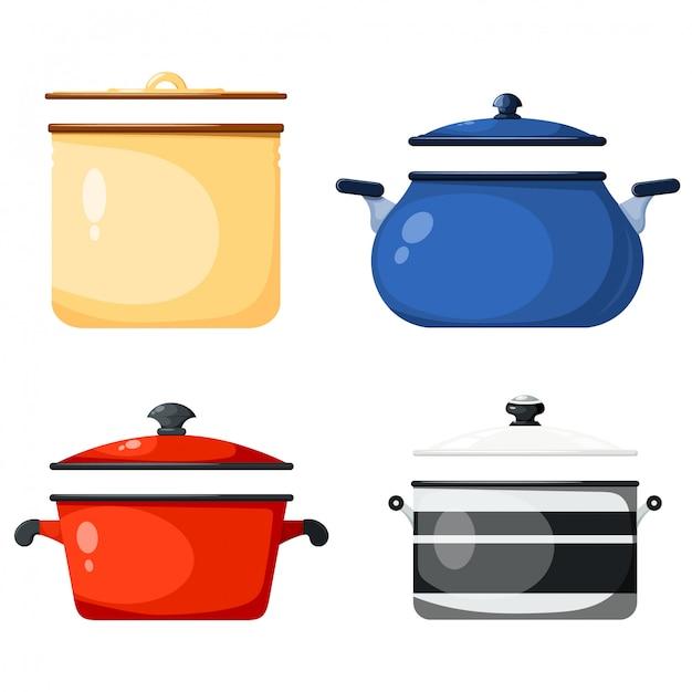 Set de sartenes de cocina, accesorios de cocina Vector Premium