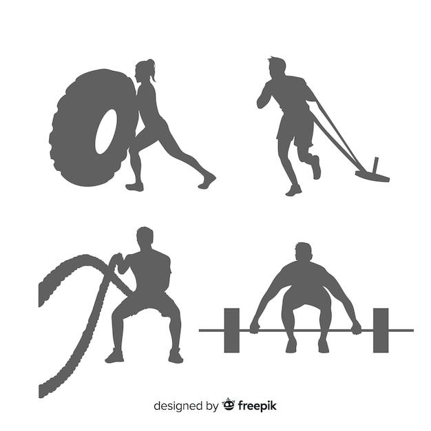 Set de siluetas de hombres y mujeres haciendo crossfit y ejercicio vector gratuito