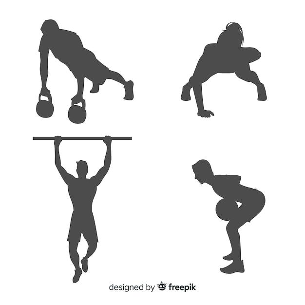 Set de siluetas de hombres y mujeres haciendo crossfit y ejercicio Vector Premium