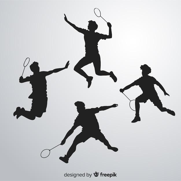 Set de siluetas de jugadores de bádminton vector gratuito