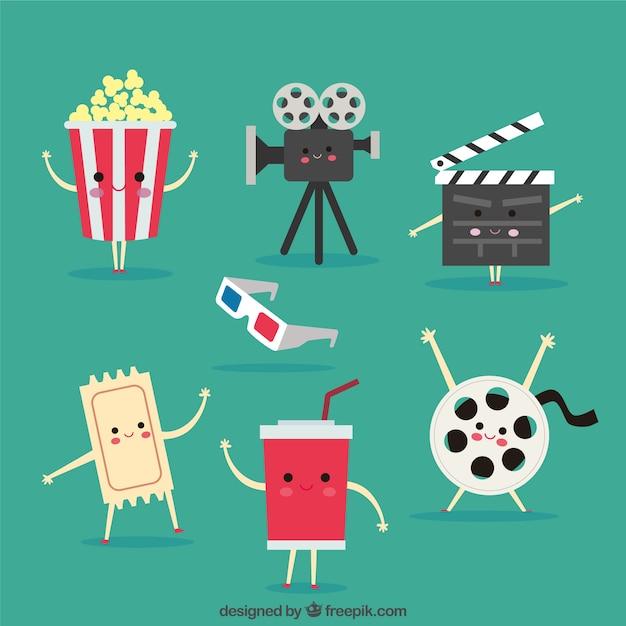 Set de simpáticos objetos de cine animados vector gratuito