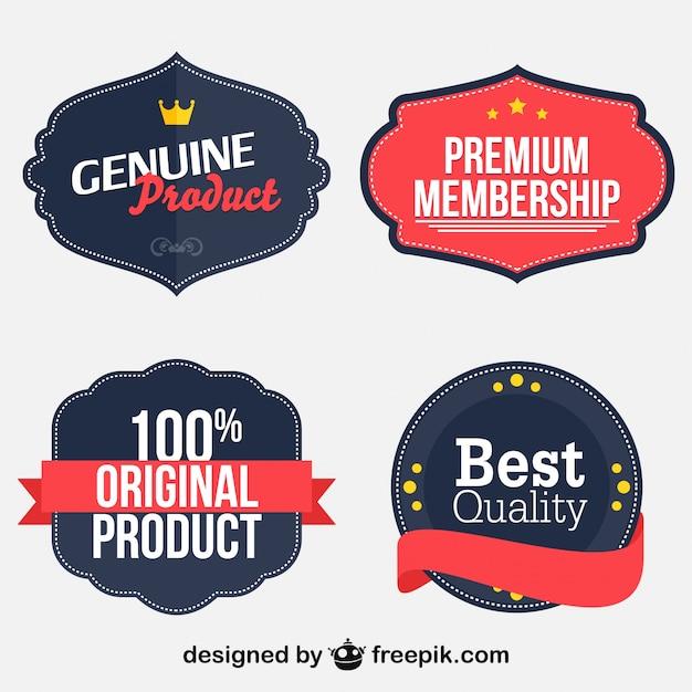Set de stickers retro para marketing de productos vector gratuito
