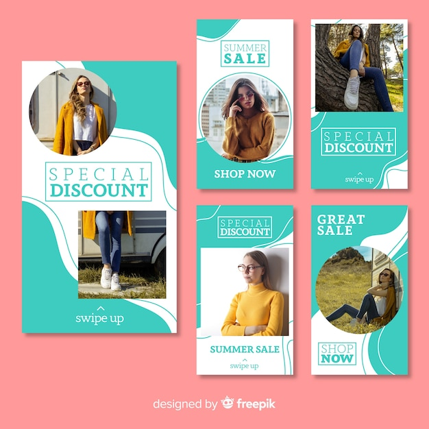 Set de stories de instagram sobre compras de moda vector gratuito