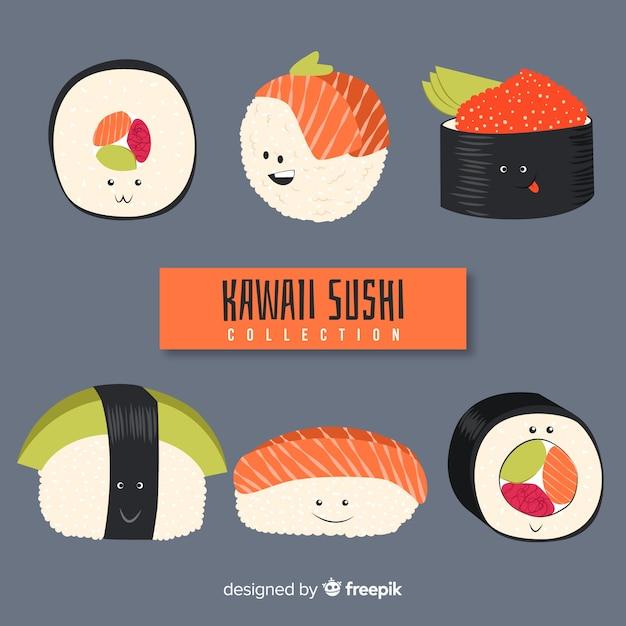 Set de sushi en estilo kawaii vector gratuito