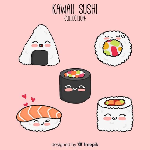 Set de sushi de estilo kawaii vector gratuito
