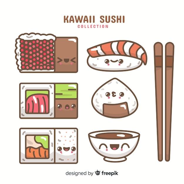 Set de sushis en estilo kawaii vector gratuito