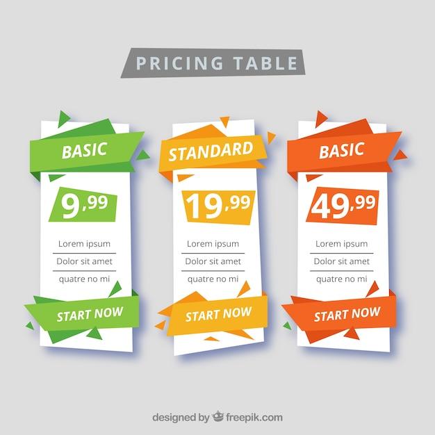Set de tabla de precios vector gratuito