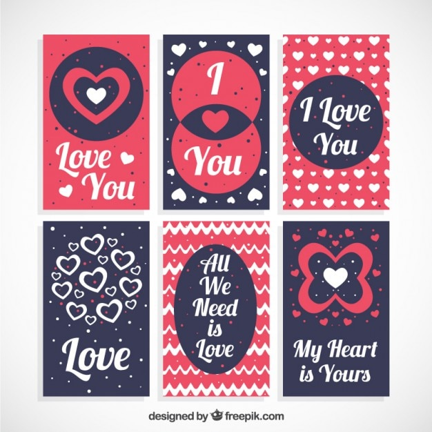 Set De Tarjetas De Amor Con Frases Descargar Vectores Gratis