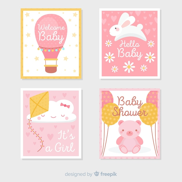 Set de tarjetas de baby shower vector gratuito