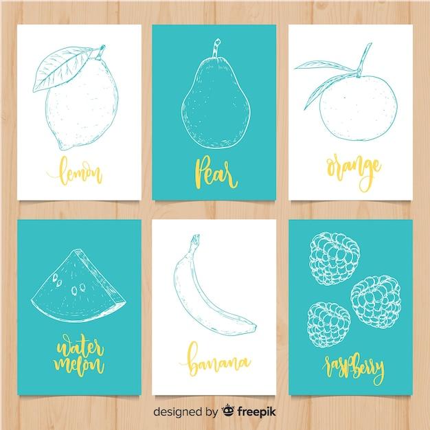 Set tarjetas comida fruta dibujada a mano vector gratuito