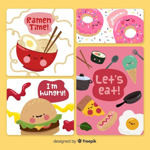Set de tarjetas de comida vector gratuito