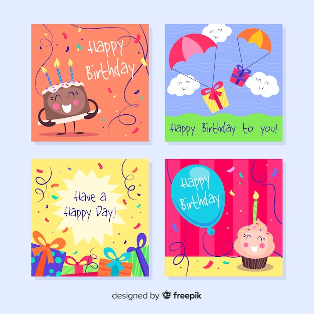 Set de tarjetas de cumpleaños vector gratuito
