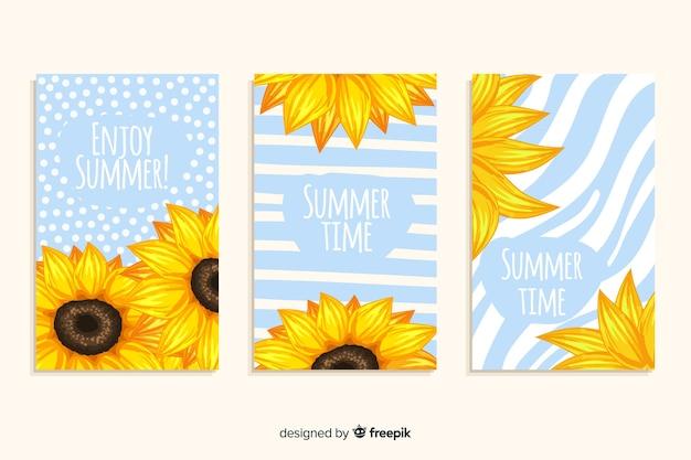 Set de tarjetas dibujadas de verano vector gratuito